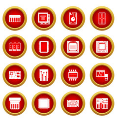 Computer chips icon red circle set vector