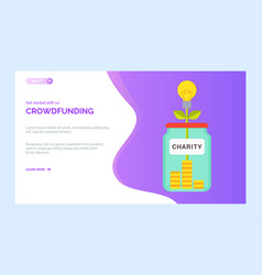 crowdfunding charity project money box with coins vector image