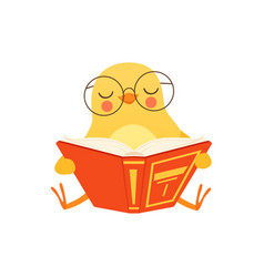 Cute baby chicken in glasses sitting on the floor vector
