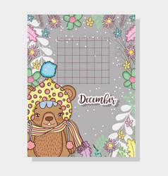 December calendar with cute bear animal vector