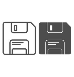 Diskette line and glyph icon memory vector