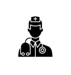 doctor black icon sign on isolated vector image