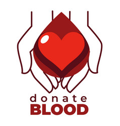 Donate blood isolated icon heart and hands charity vector