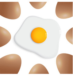 egg around fried egg on white background vector image