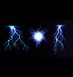 Electric ball and lightning strike impact place vector