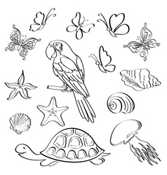 Exotic fauna outline set vector image