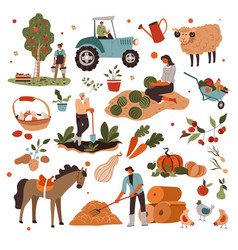 Farming people caring for plants and animals vector