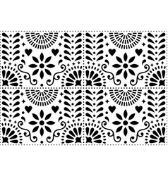 Folk art seamless pattern mexican black vector