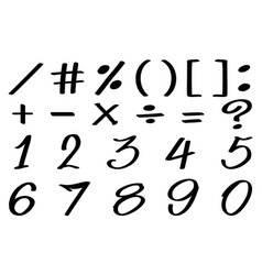 font design for numbers and math signs vector image