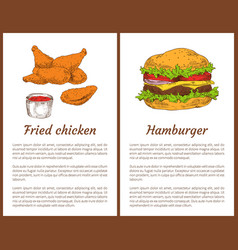 fried chicken and hamburger vector image