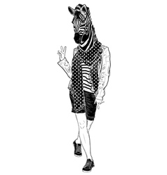 Funny fashion zebra vector image