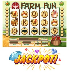Game template with farm animals vector