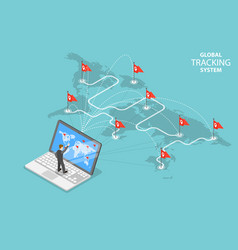 Global tracking system isometric flat vector