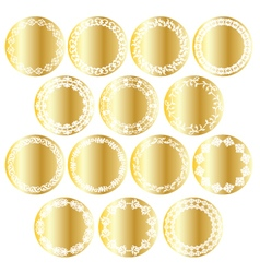 Gold circle labels vector