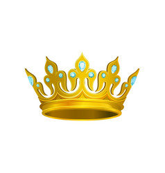 Golden crown decorated with blue gemstones vector