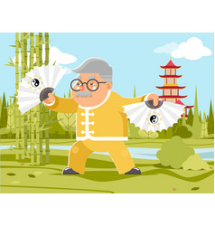 grandfather fan chinese wushu kungfu taichi vector image