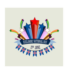 icelandic national day with stylized vector image
