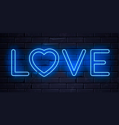 illuminated neon word love and heart sign frame vector image