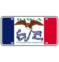 Iowa flag license plate vector
