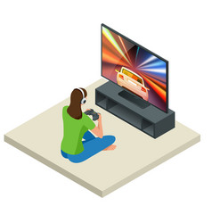 Isometric young woman plays video game on tv using vector