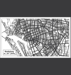 Kaohsiung taiwan indonesia city map in black vector