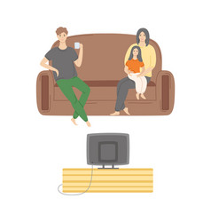 kid sitting on mothers lap father watching tv vector image