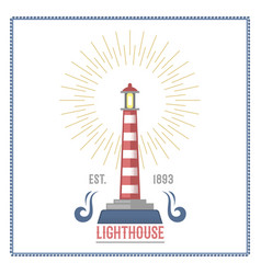 Lighthouse nautical and marine sailing themed vector
