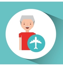 Man elderly travel concept with airport icon vector