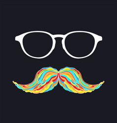 Man glass and mustache colorful image vector