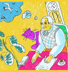 man writing at a table vector image