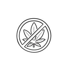 marijuana leaf with forbidden sign hand drawn vector image