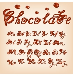 melted chocolate alphabet Shiny glazed vector image