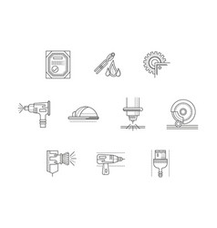Metalworking flat line icons set vector
