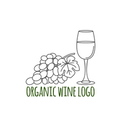 Modern line style logo with grapes leaf and glass vector