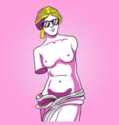 Monument of venus in sunglasses pop art vector