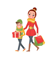mother and son do shopping together mom and boy vector image