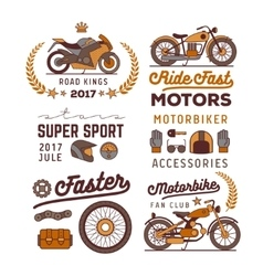 motorbike logos set vector image