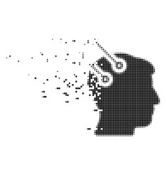 Neural interface plugs fractured pixel icon vector