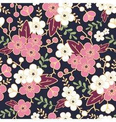 Night garden sakura blossoms seamless pattern vector image vector image
