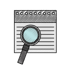 notebook sheet with magnifying glass vector image