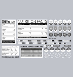 Nutrition facts info food natural ingredients on vector