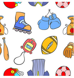 Pattern style sport equipment collection vector