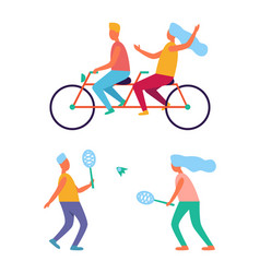 people sport activities riding bike playing tennis vector image
