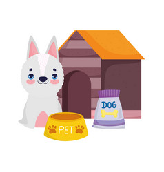 pet shop white dog food bowl pack and house vector image