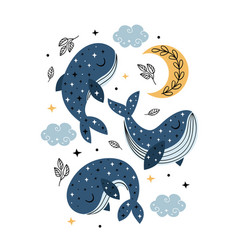 Poster with celestial whales moon and clouds vector