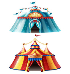 Realistic circus tent icon set vector