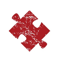 Red grunge puzzle logo vector