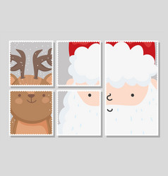 santa and reindeer with snow merry christmas vector image