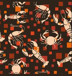 Sea creatures seamless pattern orange square vector