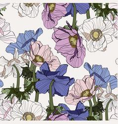 Seamless pattern vintage anemone flowers vector